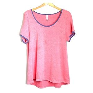 LULAROE • Coral Blue Trim Tee Cotton Blend